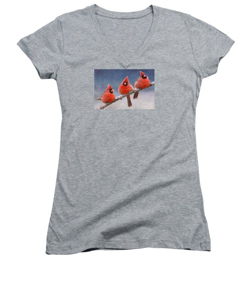 Fluffy Cardinal Trio Women's V-Neck (Athletic Fit)