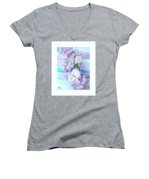 Women's V-Neck T-Shirt (Junior Cut) featuring the mixed media Fluffy Flowers by Marsha Heiken