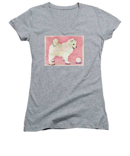 Fluffy Pup Women's V-Neck T-Shirt (Junior Cut) by Phyllis Kaltenbach