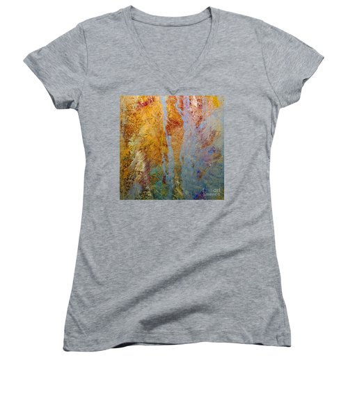Women's V-Neck T-Shirt (Junior Cut) featuring the mixed media Fluid by Michael Rock