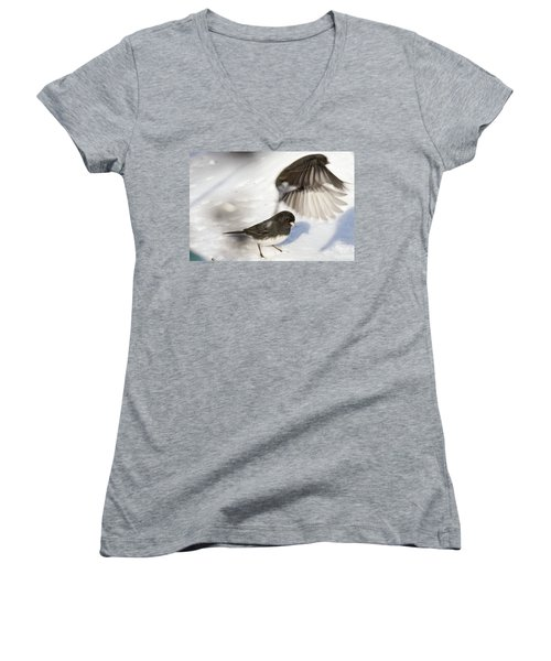 Women's V-Neck T-Shirt (Junior Cut) featuring the photograph Fly By by Gary Wightman