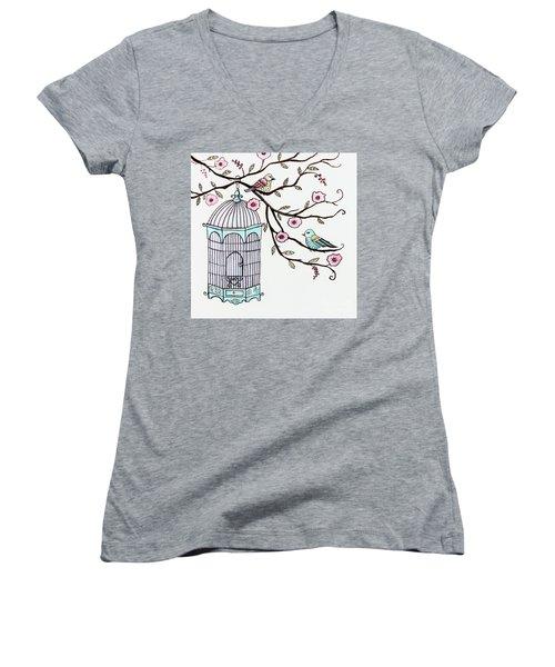 Fly Free Women's V-Neck T-Shirt (Junior Cut) by Elizabeth Robinette Tyndall