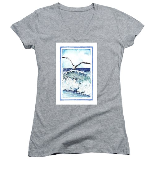 Women's V-Neck T-Shirt (Junior Cut) featuring the painting Fly High by Heidi Kriel