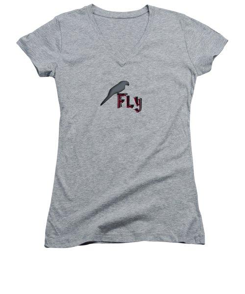 Women's V-Neck T-Shirt (Junior Cut) featuring the digital art Fly by Mim White