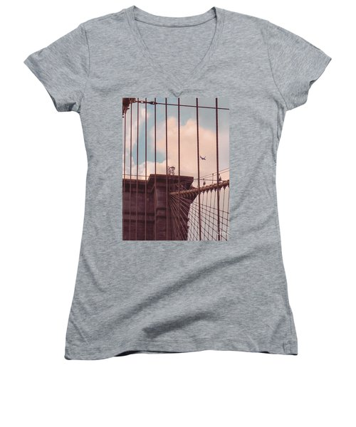 Fly Over Brooklyn  Women's V-Neck T-Shirt