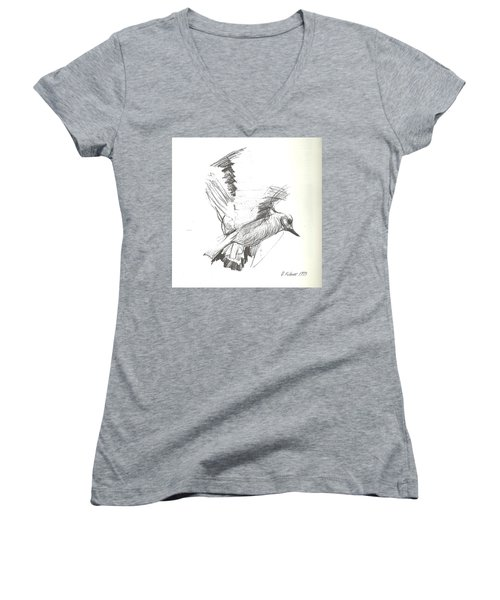 Flying Bird Sketch Women's V-Neck