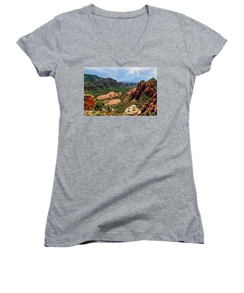 Flying Buttress 04-097 Women's V-Neck T-Shirt (Junior Cut) by Scott McAllister
