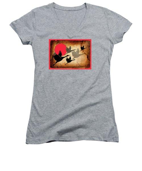 Flying Cranes Women's V-Neck T-Shirt