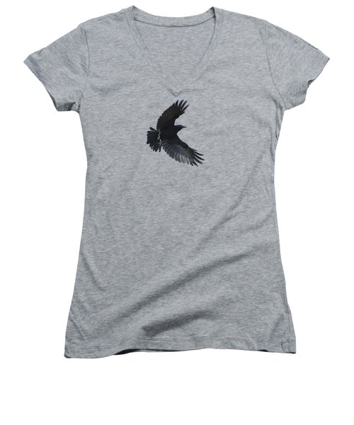 Women's V-Neck T-Shirt (Junior Cut) featuring the photograph Flying Crow by Bradford Martin
