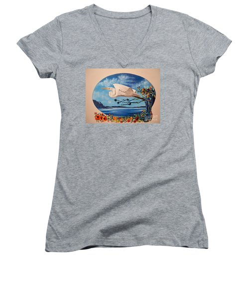 Women's V-Neck T-Shirt (Junior Cut) featuring the painting Flying Egret by Sigrid Tune