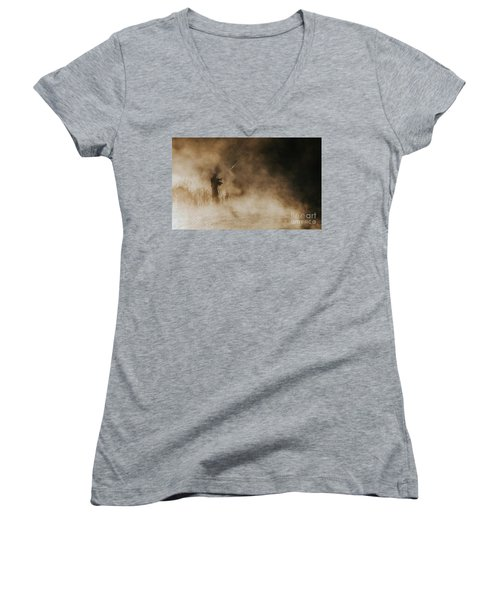 Women's V-Neck T-Shirt (Junior Cut) featuring the photograph Flying Fishing by Iris Greenwell