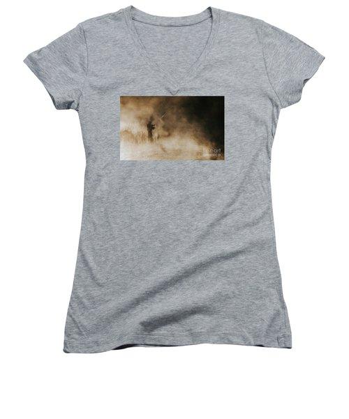 Flying Fishing Women's V-Neck T-Shirt (Junior Cut) by Iris Greenwell
