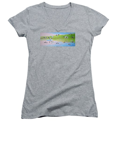 Flying Geese Women's V-Neck (Athletic Fit)