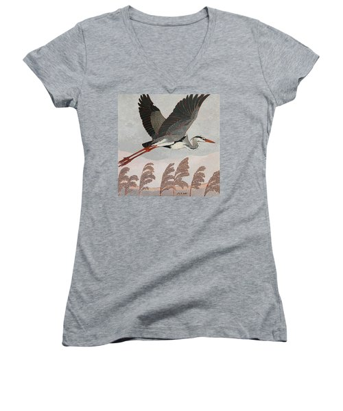 Flying Heron Women's V-Neck