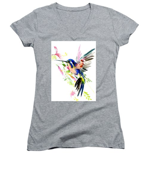 Flying Hummingbird Ltramarine Blue Peach Colors Women's V-Neck T-Shirt