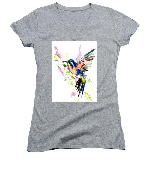 Flying Hummingbird Ltramarine Blue Peach Colors Women's V-Neck (Athletic Fit)