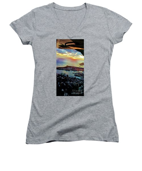 Women's V-Neck T-Shirt (Junior Cut) featuring the photograph Flying Into Honolulu II by Craig Wood