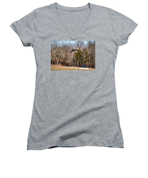 Flying Over Cloud Field Women's V-Neck T-Shirt (Junior Cut) by TnBackroadsPhotos