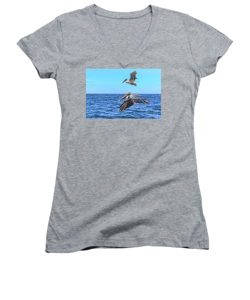 Flying Pair Women's V-Neck T-Shirt (Junior Cut) by Robert Bales