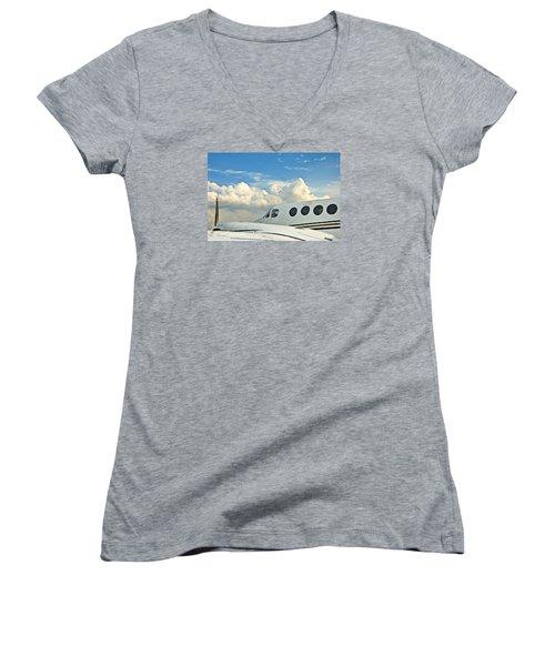 Flying Time Women's V-Neck T-Shirt (Junior Cut) by Carolyn Marshall