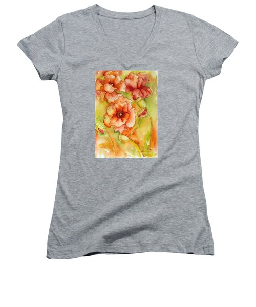 Flying With The Wind Poppies Women's V-Neck T-Shirt (Junior Cut) by Inese Poga