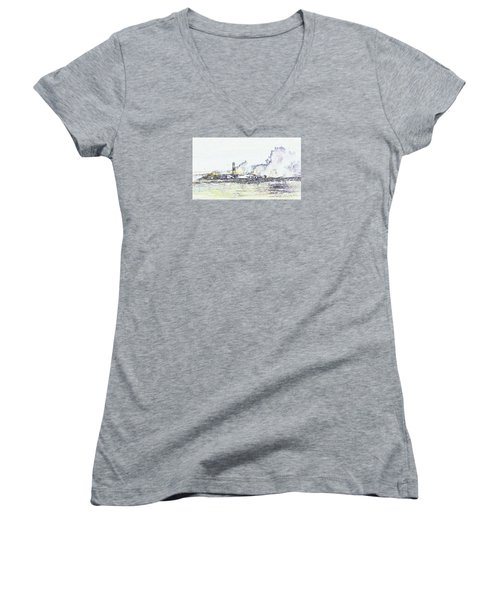 Women's V-Neck T-Shirt featuring the photograph Foamy Sea At The Breakwater by Nareeta Martin