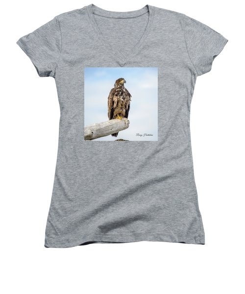 Women's V-Neck featuring the photograph Focused Eagle by Roxy Hurtubise
