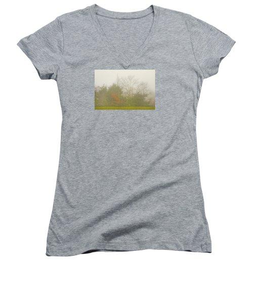 Fog In Autumn Women's V-Neck T-Shirt (Junior Cut) by Wanda Krack