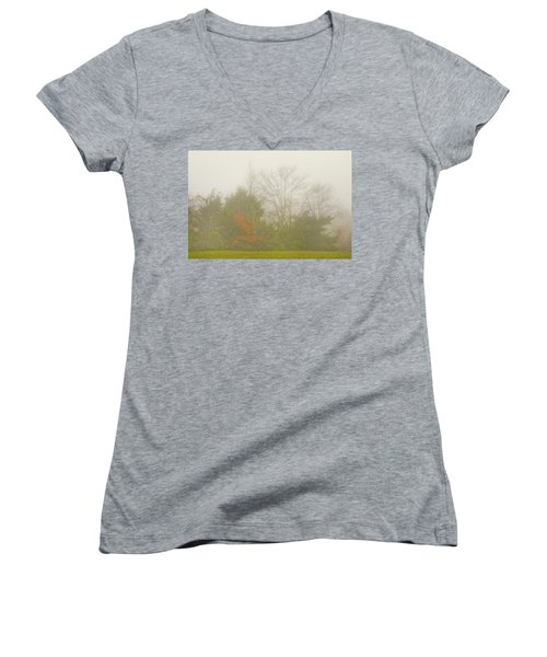 Fog In Autumn Women's V-Neck
