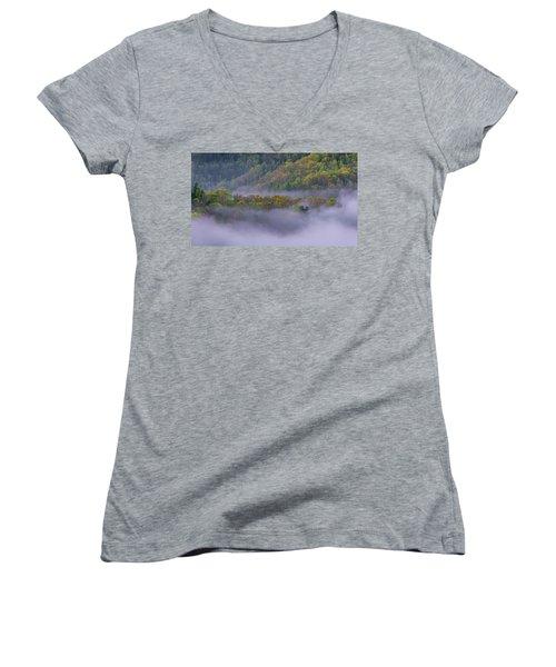 Fog In The Hills Women's V-Neck T-Shirt (Junior Cut) by Ulrich Burkhalter