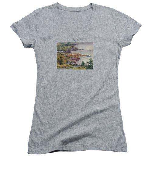 Fog Lifting Women's V-Neck T-Shirt (Junior Cut) by Jane Thorpe
