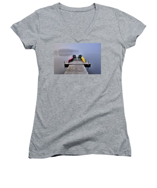 Women's V-Neck T-Shirt featuring the photograph Fog On West Lake by David Patterson