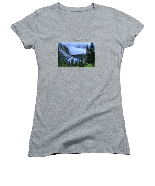 Fog Over Louise Lake Women's V-Neck T-Shirt (Junior Cut) by Lynn Hopwood