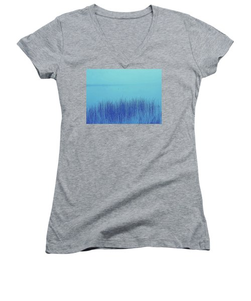Women's V-Neck T-Shirt (Junior Cut) featuring the photograph Fog Reeds by Laurie Stewart