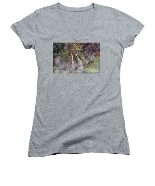 Fog Rolling In Women's V-Neck T-Shirt (Junior Cut) by Joan Bertucci