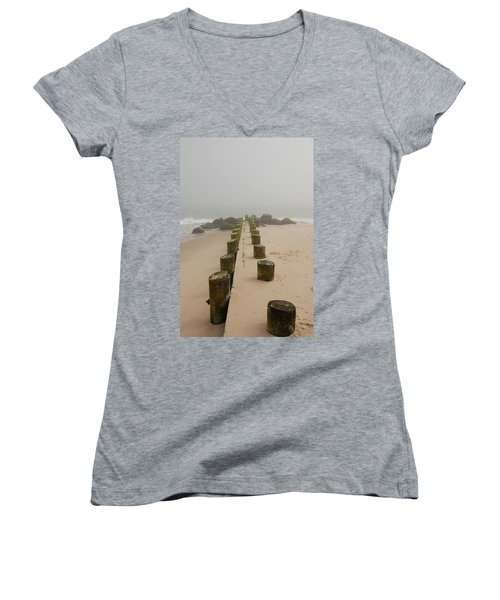 Fog Sits On Bay Head Beach - Jersey Shore Women's V-Neck (Athletic Fit)