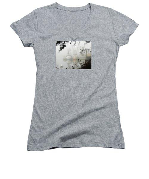 Fogged In Women's V-Neck T-Shirt (Junior Cut) by Deborah Smith