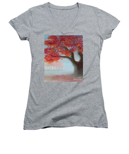 Foggy Autumn Women's V-Neck (Athletic Fit)