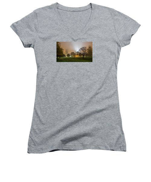 Foggy Cathedral Women's V-Neck (Athletic Fit)
