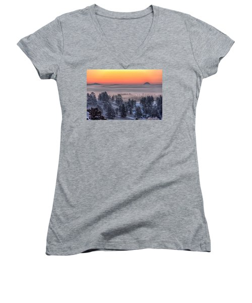 Women's V-Neck featuring the photograph Foggy Dawn by Fiskr Larsen