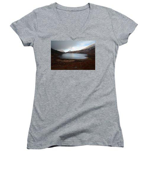 Women's V-Neck T-Shirt (Junior Cut) featuring the photograph Foggy Favre Lake by Jenessa Rahn