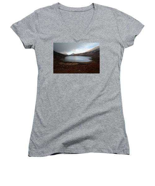 Foggy Favre Lake Women's V-Neck T-Shirt