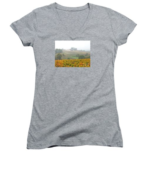 Foggy French Vineyard Women's V-Neck T-Shirt