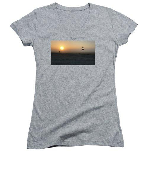 Foggy Hawkeye Sunrise  Women's V-Neck T-Shirt
