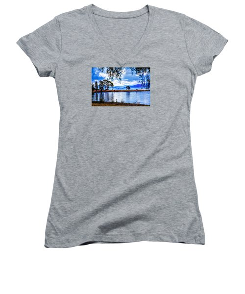 Women's V-Neck T-Shirt (Junior Cut) featuring the photograph Foggy Hills And Lakes by Rick Bragan