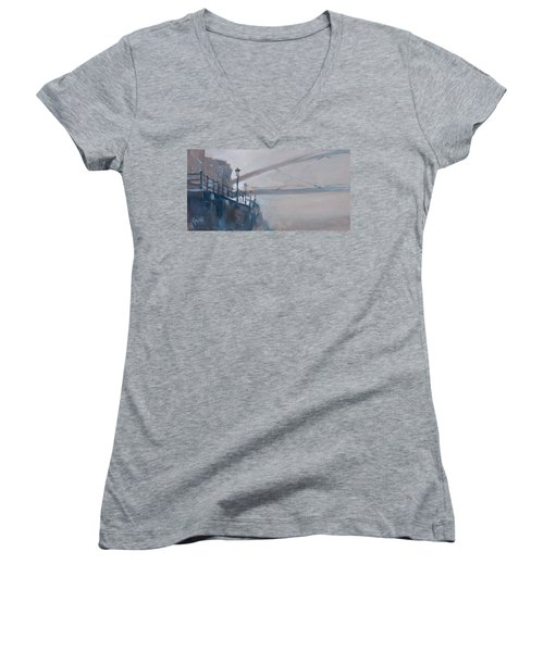 Foggy Hoeg Women's V-Neck T-Shirt (Junior Cut) by Nop Briex