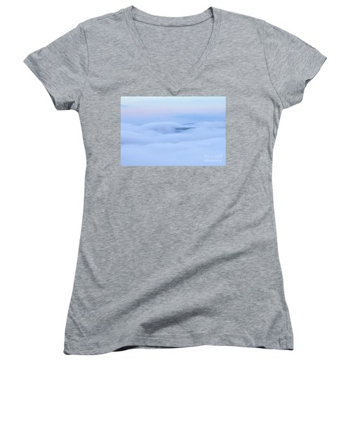 Women's V-Neck T-Shirt featuring the photograph Foggy Layers by Kerri Farley