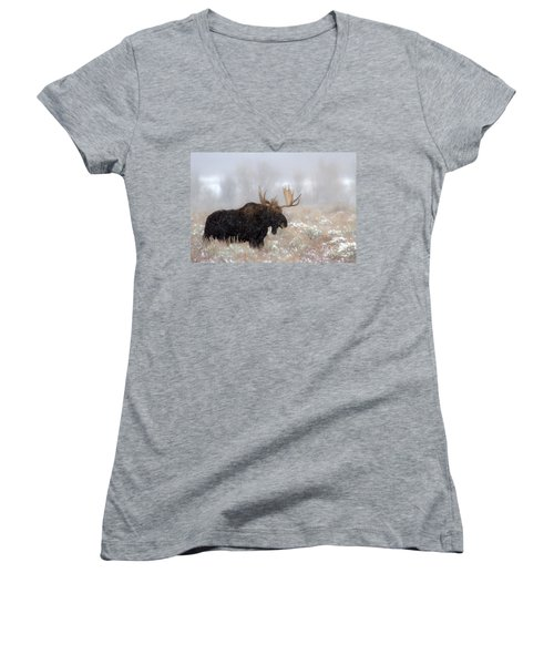 Women's V-Neck T-Shirt (Junior Cut) featuring the photograph Foggy Moose Silhouette by Adam Jewell