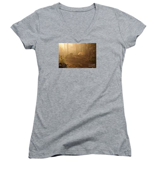 Women's V-Neck T-Shirt (Junior Cut) featuring the photograph Foggy Morning At The Campsite by Larry Ricker