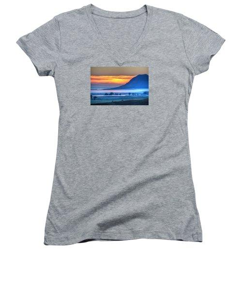 Foggy Morning Women's V-Neck T-Shirt (Junior Cut) by Fiskr Larsen
